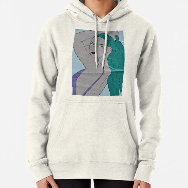 the strong beauty with the green hair Pullover Hoodie