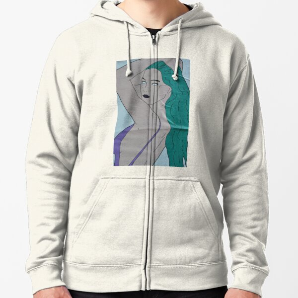 the strong beauty with the green hair Zipped Hoodie