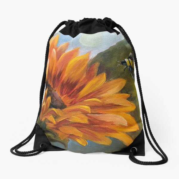 Bee Happy Sunflowers Drawstring Bag