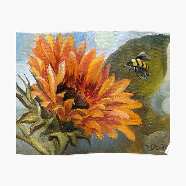 Bee Happy Sunflowers Poster