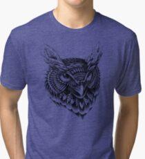 Ornate Owl Head Tri-blend T-Shirt