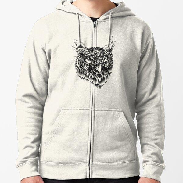 Ornate Owl Head Zipped Hoodie