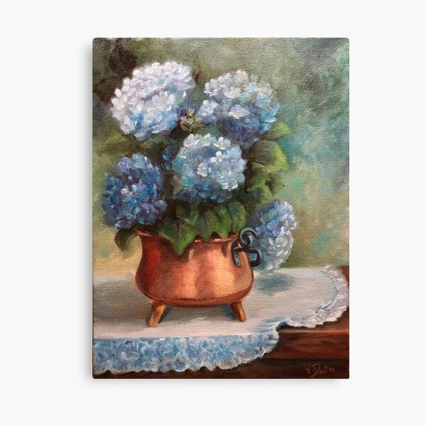 Blue Hydrangeas in a Copper Pot Canvas Print