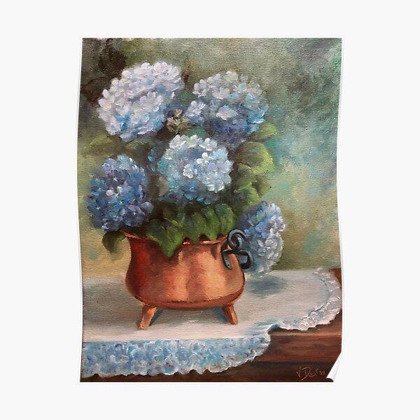 Blue Hydrangeas in a Copper Pot Poster