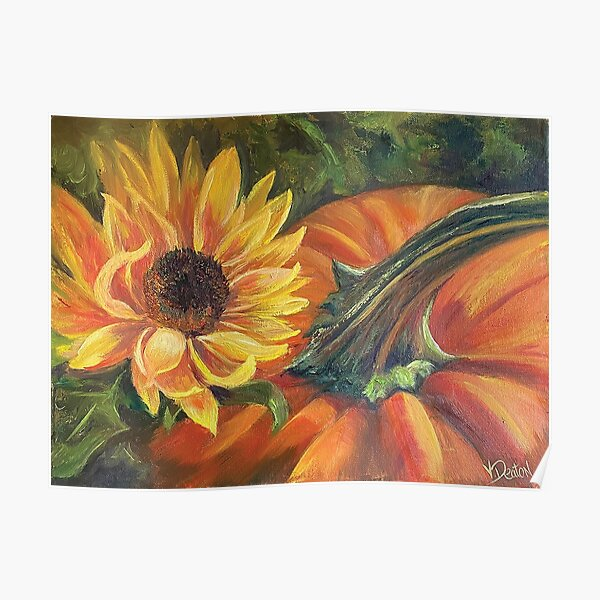Fall Favorites - Pumpkins and Sunflowers Poster