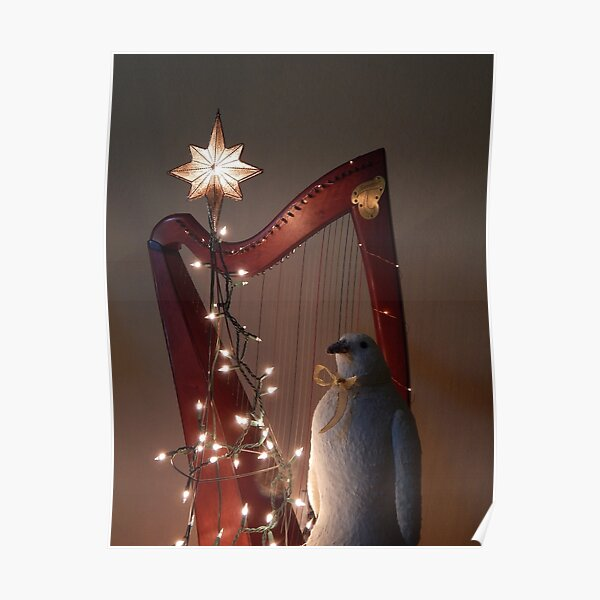 Harp & Bird at Christmas Poster