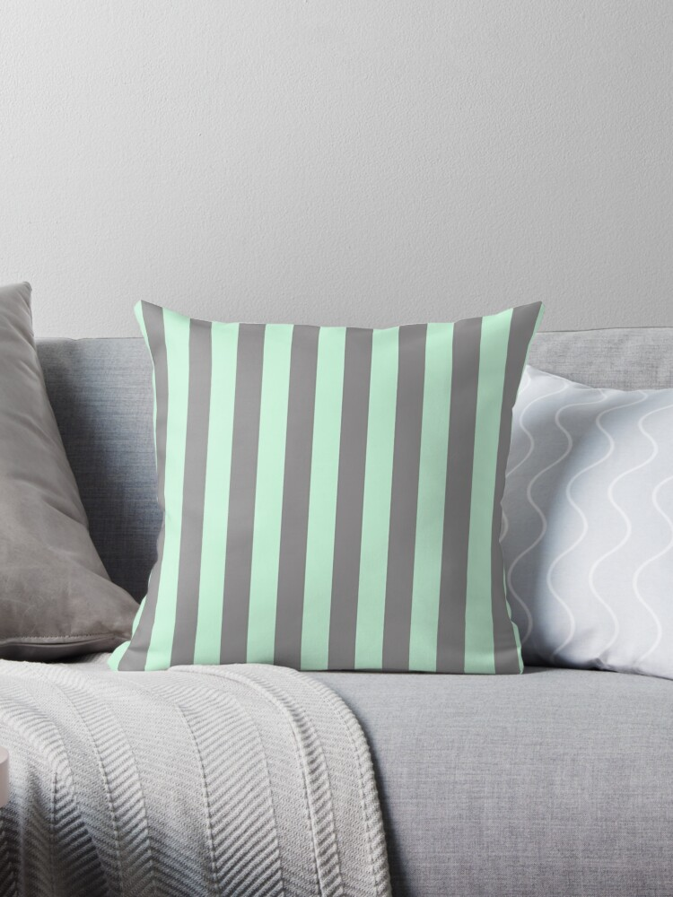 summer mint green and dark grey vertical circus tent stripes by podartist
