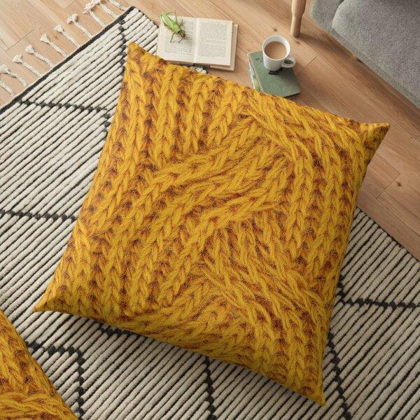 Yellow wavy Pattern Floor Pillow
