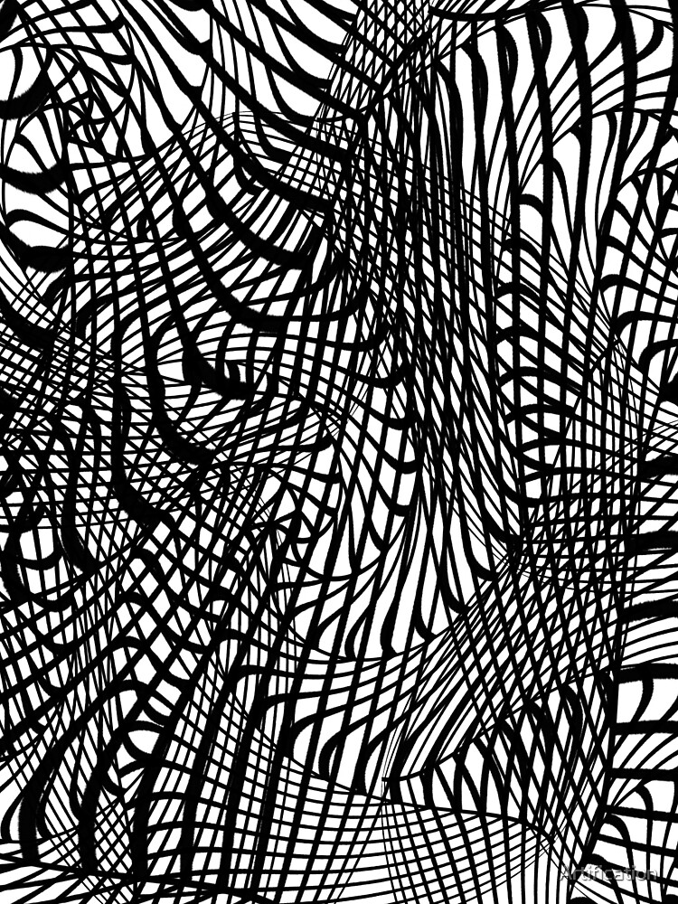 Black White Swirly Doodle Tangle d Trendy Pattern by Artification