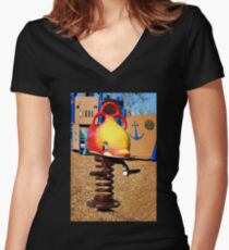Fish Jumper Women's Fitted V-Neck T-Shirt