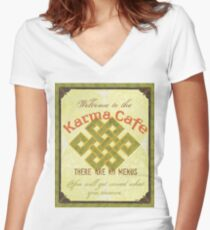 Karma Cafe Women's Fitted V-Neck T-Shirt