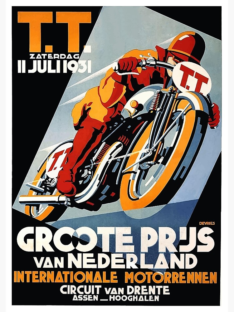 1931 Netherlands Motorcycle Race Poster by retrographics