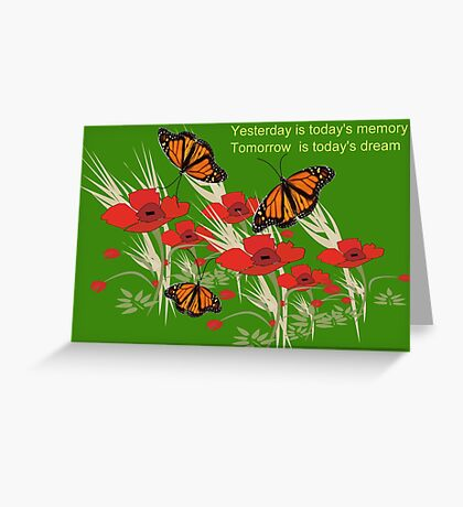 Poppies and butterflies (2891 Views) Greeting Card
