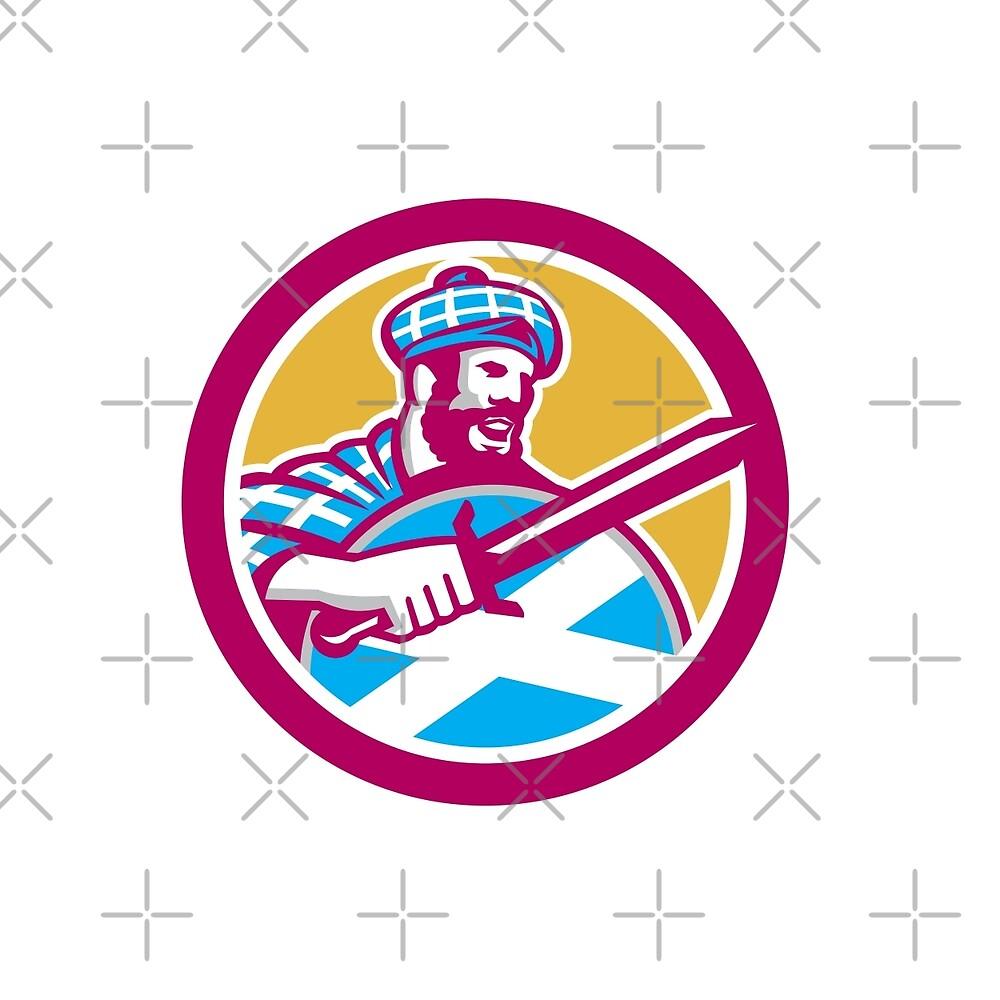Highlander Scotsman Sword Shield Circle Retro by patrimonio