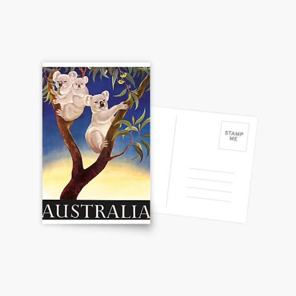 1956 Australia Koalas Travel Poster Postcard