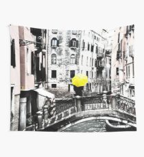 Yellow Umbrella in Venice Wall Tapestry