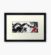 Japanese snow mountain scene Framed Print