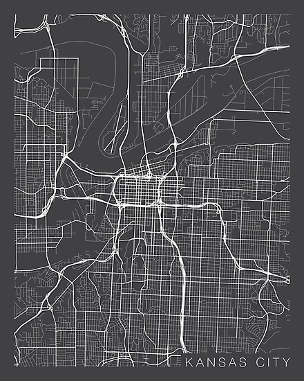 Kansas City Map, USA - Gray\