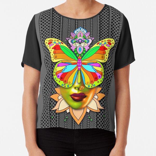 Creative Mandala Butterfly Woman Face 4 Chiffon Top