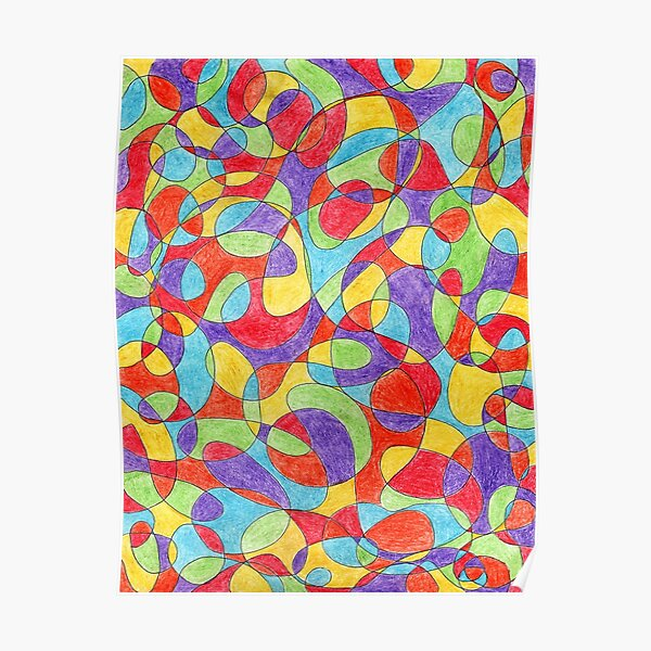 Hand Drawn Rainbow Color Doodle Pattern Poster