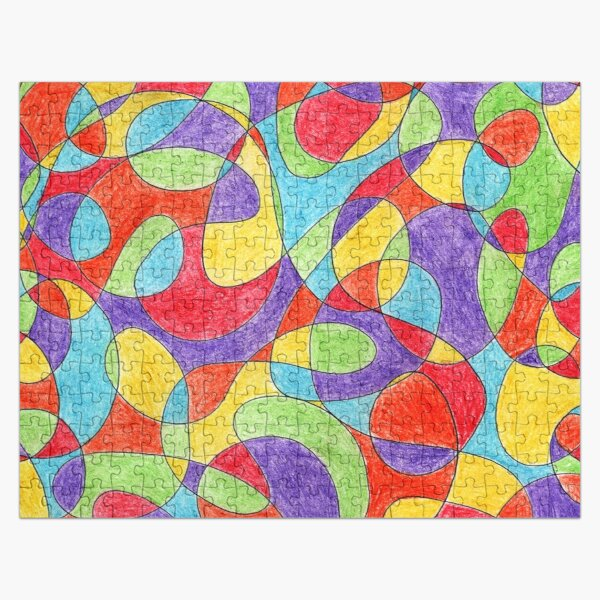 Hand Drawn Rainbow Color Doodle Pattern Jigsaw Puzzle