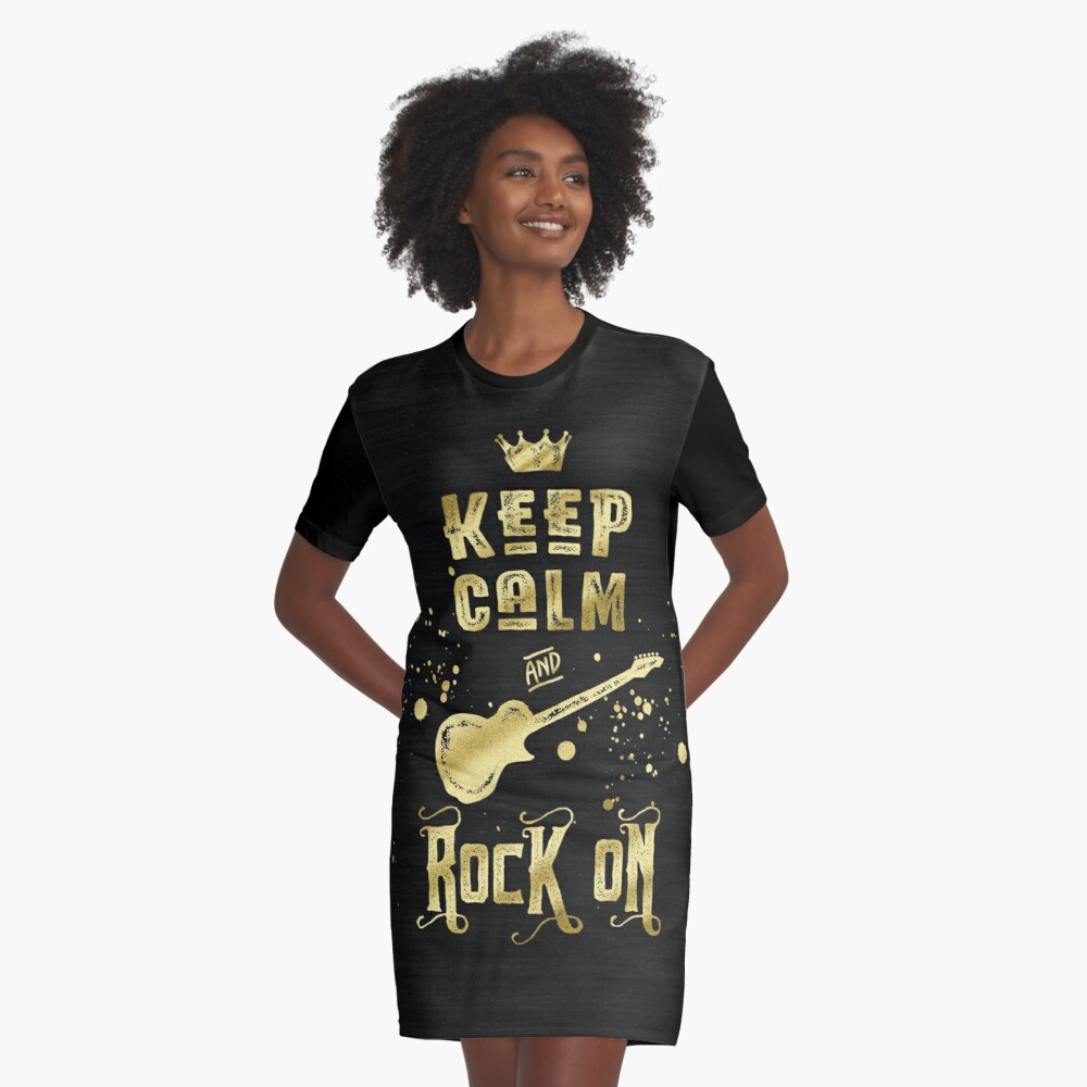 Keep Calm and Rock On Gold Electric Guitar Typography Graphic T-Shirt Dress