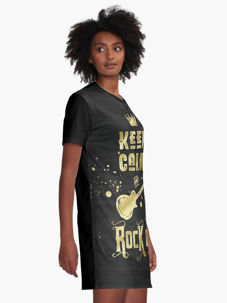 Alternate view of Keep Calm and Rock On Gold Electric Guitar Typography Graphic T-Shirt Dress