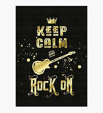 Keep Calm and Rock On Gold Electric Guitar Typography Photographic Print