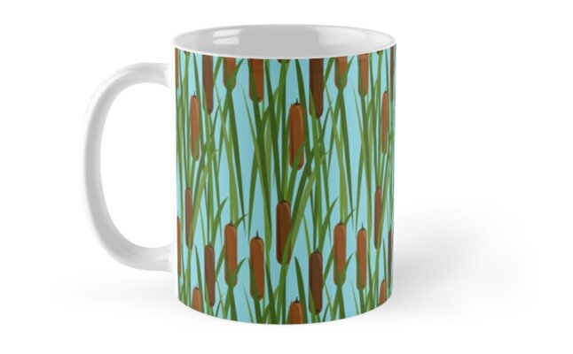 Green Cat Tails Floral Pattern by MerryPerry