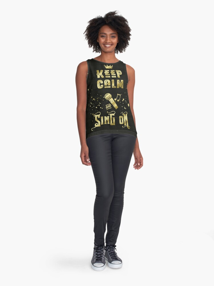 Alternate view of Keep Calm and Sing On Gold Microphone Typography Sleeveless Top