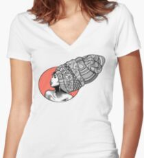 Tribal Head Piece Women's Fitted V-Neck T-Shirt