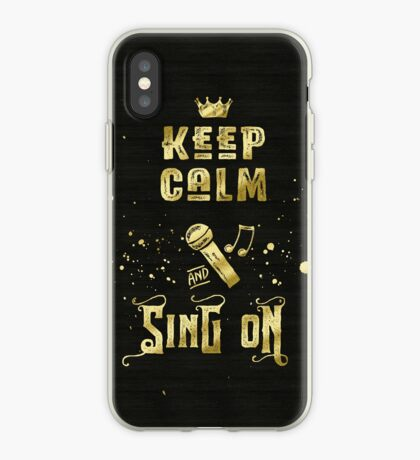 Keep Calm and Sing On Gold Microphone Typography iPhone Case