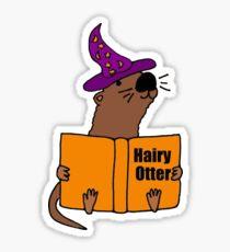 Smiletodaytees Sea Otter Reading Book Hairy Otter Sticker