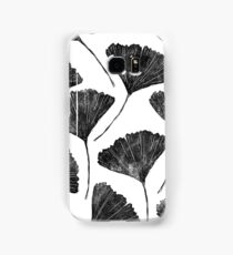 Ginkgo biloba, Lino cut nature inspired leaf pattern Samsung Galaxy Case/Skin