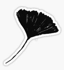 Ginkgo biloba, Lino cut nature inspired leaf pattern Sticker