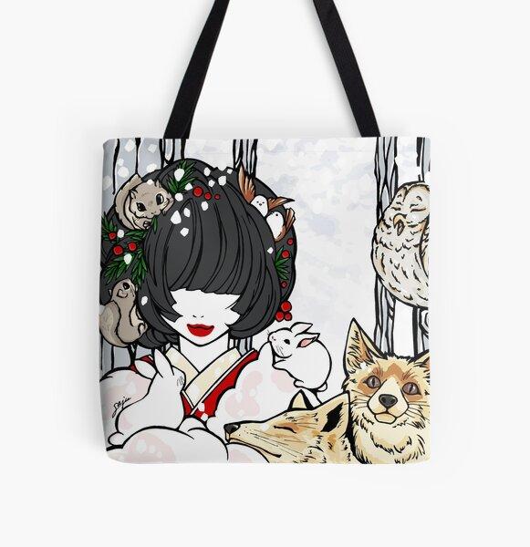 Winter Animals - asian beauty, Japanese winter, kimono girl All Over Print Tote Bag