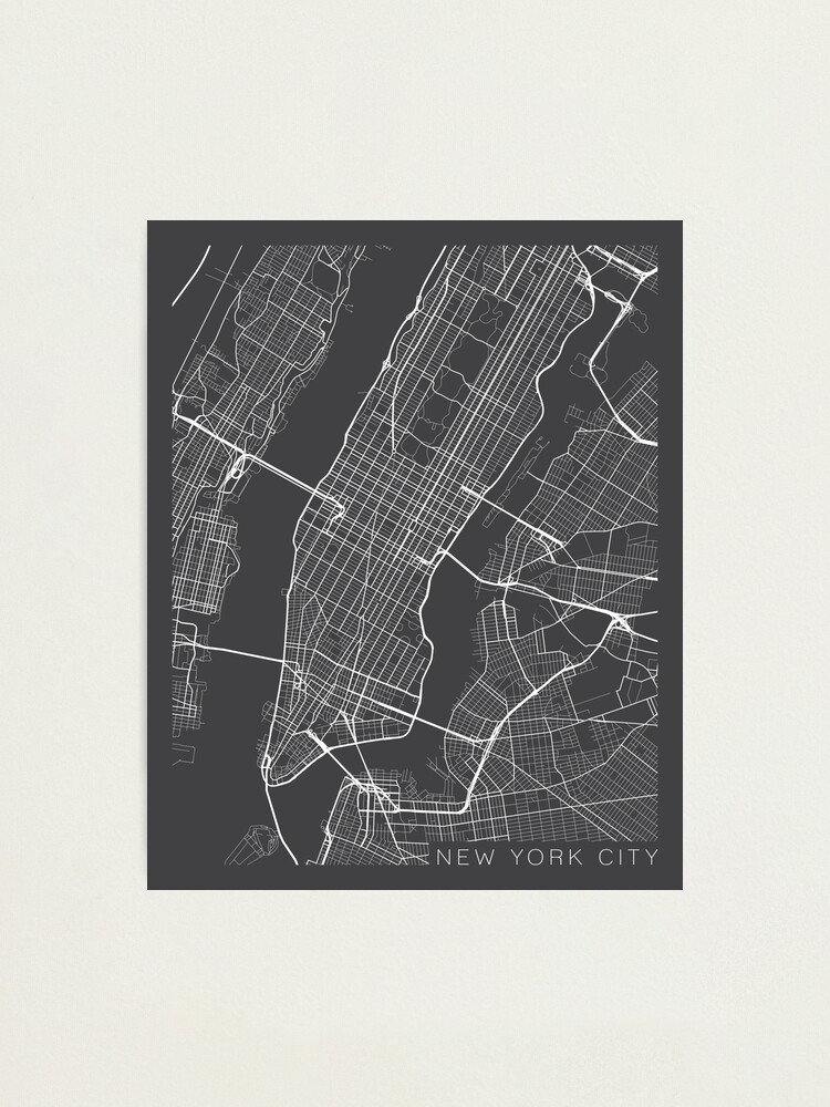 Alternate view of New York City, Map - Gray Photographic Print
