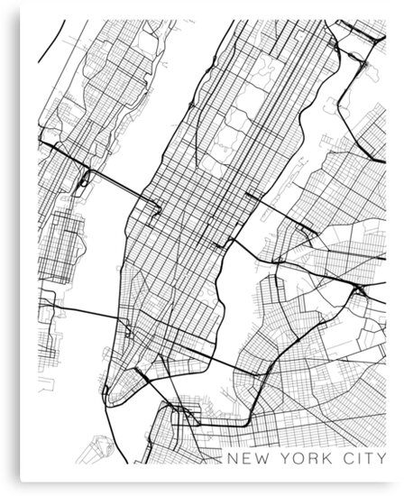 New York Map Black And White.New York City Map Black And White Canvas Prints By
