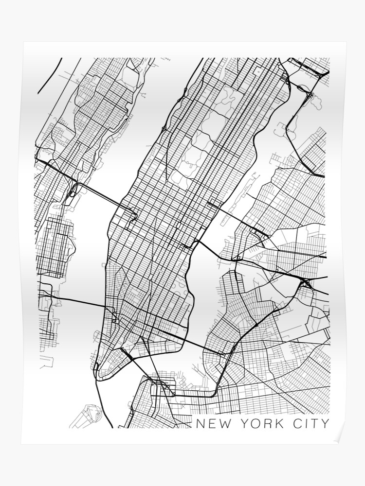 Map Of New York Poster.New York City Map Black And White Poster