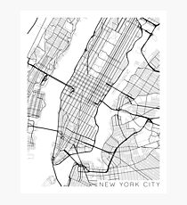New York City, Map - Black and White Photographic Print