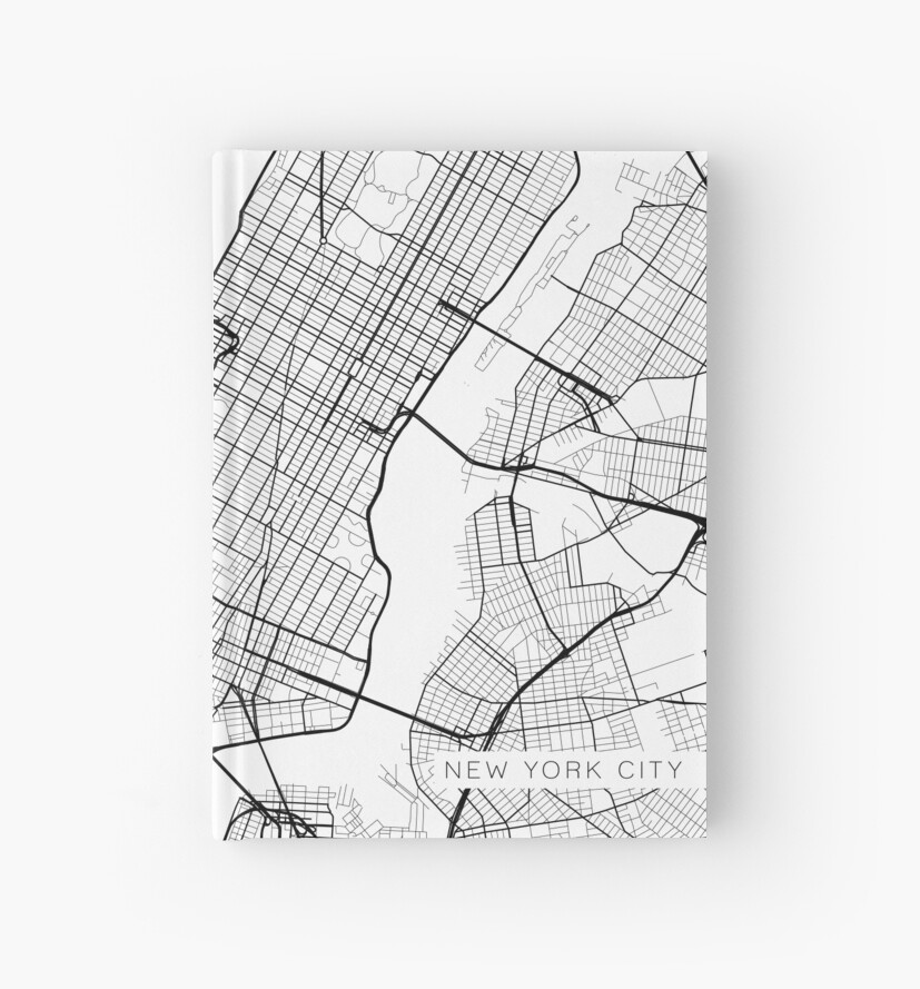 New York Map Black And White.New York City Map Black And White Hardcover Journals By