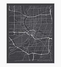 Rochester Map, USA - Gray Photographic Print