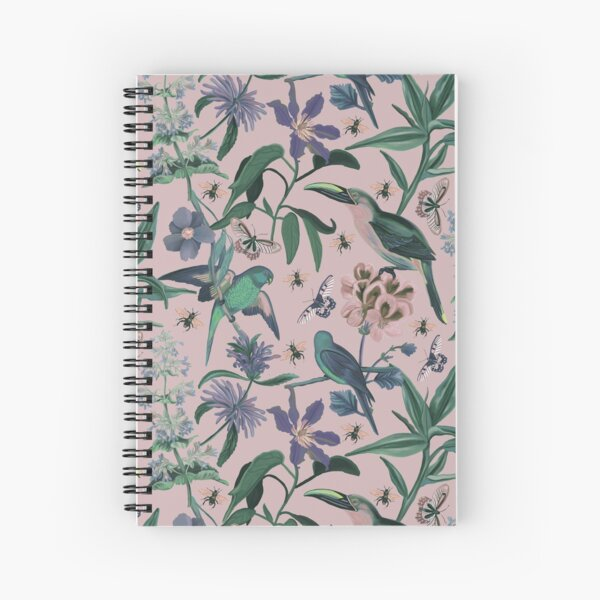 Birds and Butterflies Seamless Pattern Cottage Garden Spiral Notebook