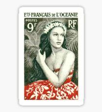 1955 Französisch-Polynesien-Mädchen von Bora Bora Briefmarke Sticker