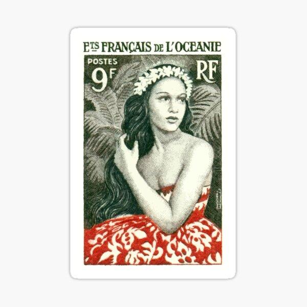 1955 French Polynesia Girl of Bora Bora Postage Stamp  Sticker