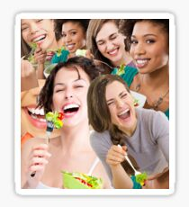 women laughing at salad Sticker