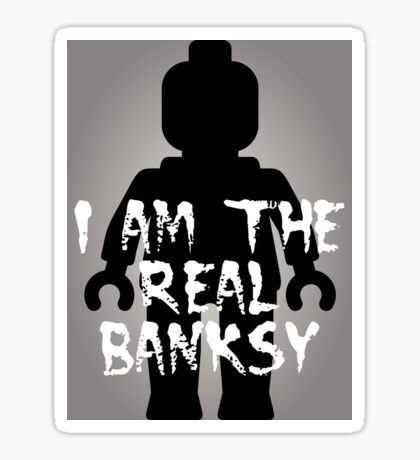 """Black Minifig with """"I am the Real Banksy"""" slogan [Large] by Customize My Minifig Sticker"""