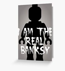 "Black Minifig with ""I am the Real Banksy"" Greeting Card"