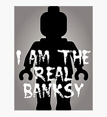 """Black Minifig with """"I am the Real Banksy"""" slogan [Large] by Customize My Minifig Photographic Print"""