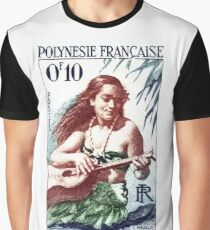 1958 French Polynesia Guitar Girl 10fr Postage Stamp Graphic T-Shirt